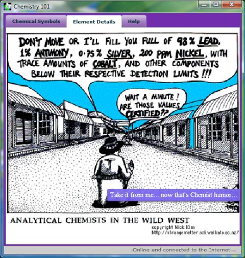 Screenshot of the Chemistry humor...