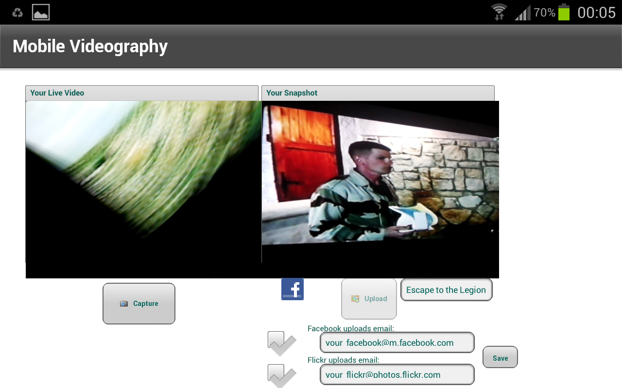 Screenshot of Videographer Mobile app